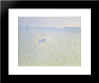 The Seine At Dawn: Modern Black Framed Art Print by Charles Angrand