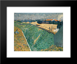 The Western Railway At Its Exit From Paris: Modern Black Framed Art Print by Charles Angrand