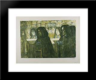 Funeral In Brittany: Modern Black Framed Art Print by Charles Cottet