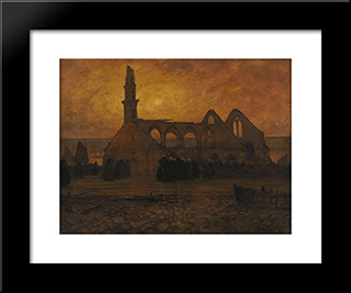 Lamentation Of Women Camaret Around The Chapel Of Burnt-Roch' Amadour: Modern Black Framed Art Print by Charles Cottet