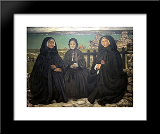 Mourning, Brittany: Modern Black Framed Art Print by Charles Cottet