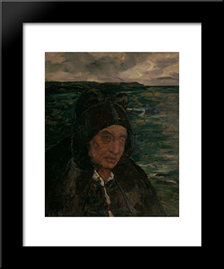 Old Woman Of Brittany: Modern Black Framed Art Print by Charles Cottet