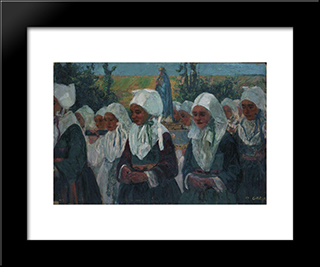 Procession: Modern Black Framed Art Print by Charles Cottet