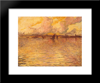 Seascape With Venice In The Distance: Modern Black Framed Art Print by Charles Cottet