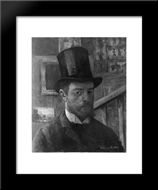 Self-Portrait: Modern Black Framed Art Print by Charles Cottet