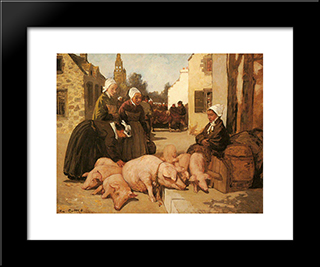 Selling Livestock: Modern Black Framed Art Print by Charles Cottet