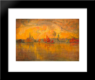 View Of Venice From The Sea: Modern Black Framed Art Print by Charles Cottet