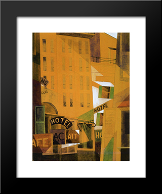 Hotel: Modern Black Framed Art Print by Charles Demuth