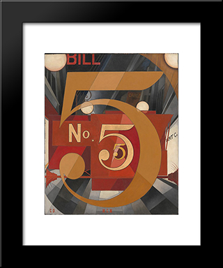 I Saw The Figure 5 In Gold: Modern Black Framed Art Print by Charles Demuth