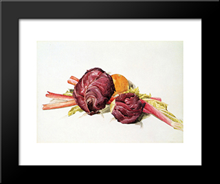 Red Cabbages, Rhubarb And Orange: Modern Black Framed Art Print by Charles Demuth