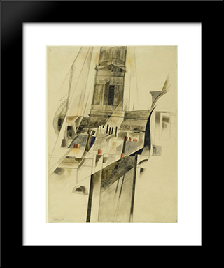 Roofs And Steeple: Modern Black Framed Art Print by Charles Demuth