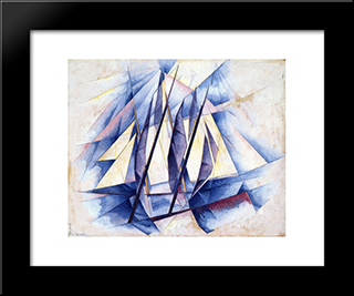 Sail In Two Movements: Modern Black Framed Art Print by Charles Demuth