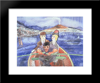 The Boat Ride From Sorrento: Modern Black Framed Art Print by Charles Demuth