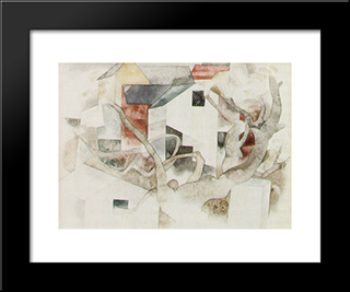 Trees And Barns Bermuda: Modern Black Framed Art Print by Charles Demuth