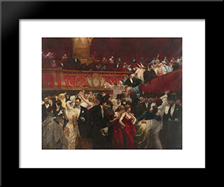 At The Masquerade: Modern Black Framed Art Print by Charles Hermans