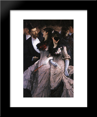 At The Masquerade (Detail): Modern Black Framed Art Print by Charles Hermans