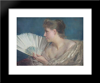 Femme A L'Eventail: Modern Black Framed Art Print by Charles Hermans