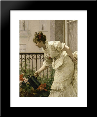 La Belle Voisine: Modern Black Framed Art Print by Charles Hermans