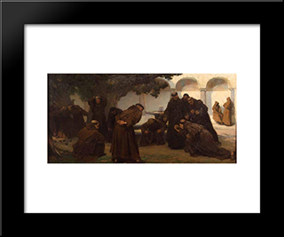 Monks Playing Bowls: Modern Black Framed Art Print by Charles Hermans