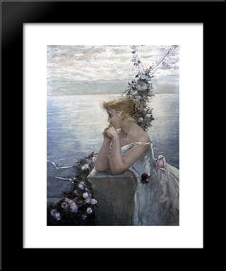 Portrait Of A Girl (Identified As The Artist'S Daughter): Modern Black Framed Art Print by Charles Hermans