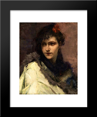 Portrait Of A Young Lady: Modern Black Framed Art Print by Charles Hermans