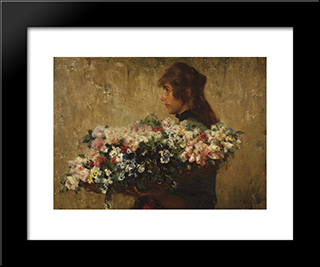 The Flower Seller: Modern Black Framed Art Print by Charles Hermans