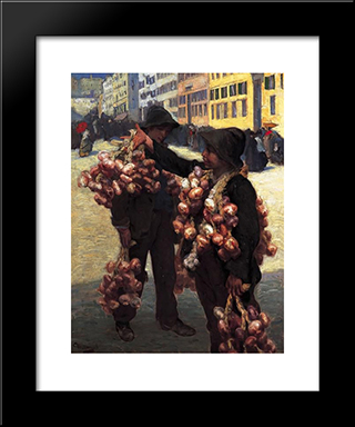 The Onion Sellers: Modern Black Framed Art Print by Charles Hermans
