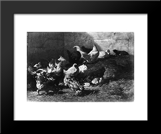Chickens: Modern Black Framed Art Print by Charles Jacque