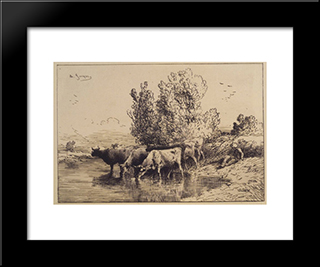 Cows: Modern Black Framed Art Print by Charles Jacque