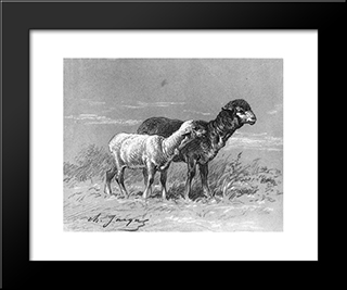 Ewe And Lamb: Modern Black Framed Art Print by Charles Jacque