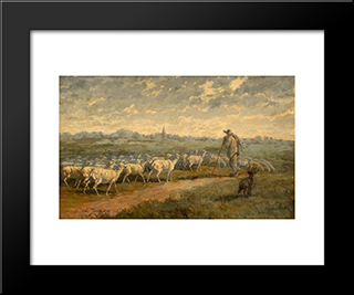 Landscape With A Herd: Modern Black Framed Art Print by Charles Jacque