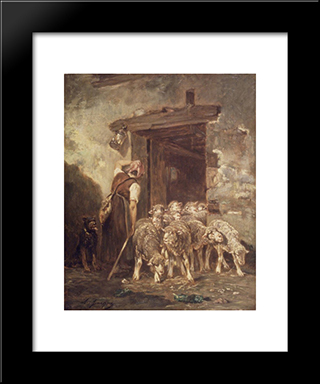Leaving The Sheep Pen: Modern Black Framed Art Print by Charles Jacque