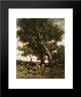 On The Pasture: Modern Black Framed Art Print by Charles Jacque