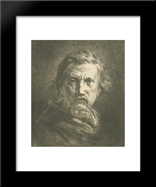 Self-Portrait: Modern Black Framed Art Print by Charles Jacque