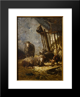 Sheep In Manger: Modern Black Framed Art Print by Charles Jacque