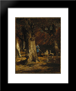 The Old Forest: Modern Black Framed Art Print by Charles Jacque