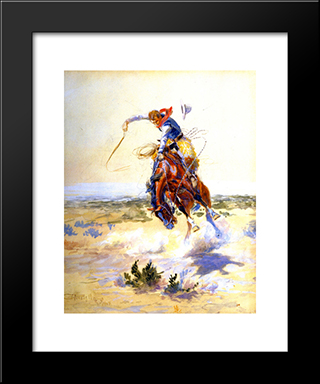 A Bad Hoss: Modern Black Framed Art Print by Charles M. Russell