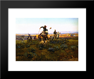 A Bad One: Modern Black Framed Art Print by Charles M. Russell