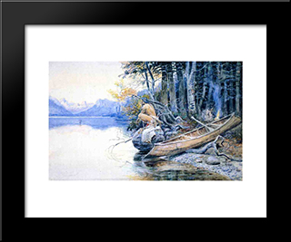 A Campsite By The Lake: Modern Black Framed Art Print by Charles M. Russell