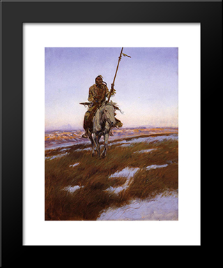 A Cree Indian: Modern Black Framed Art Print by Charles M. Russell