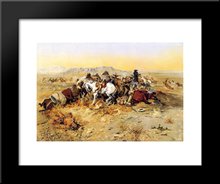 A Desperate Stand: Modern Black Framed Art Print by Charles M. Russell
