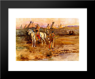 A Piegan Flirtation: Modern Black Framed Art Print by Charles M. Russell