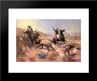 A Serious Predicament: Modern Black Framed Art Print by Charles M. Russell