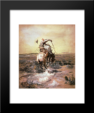 A Slick Rider: Modern Black Framed Art Print by Charles M. Russell