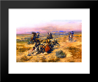 A Strenuous Life: Modern Black Framed Art Print by Charles M. Russell