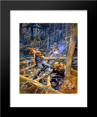 A Wounded Grizzly: Modern Black Framed Art Print by Charles M. Russell