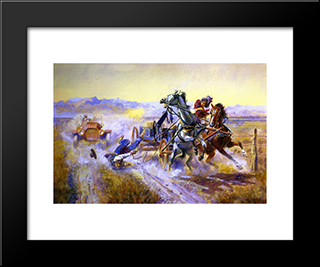 An Old Story: Modern Black Framed Art Print by Charles M. Russell