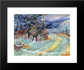 An Unscheduled Stop: Modern Black Framed Art Print by Charles M. Russell