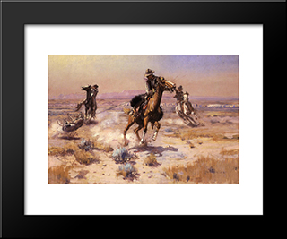 At Rope'S End: Modern Black Framed Art Print by Charles M. Russell