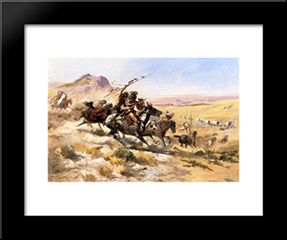 Attack On A Wagon Train: Modern Black Framed Art Print by Charles M. Russell